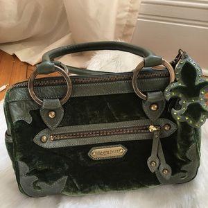 Isabelle Fiore leather and velvet Emerald handbag